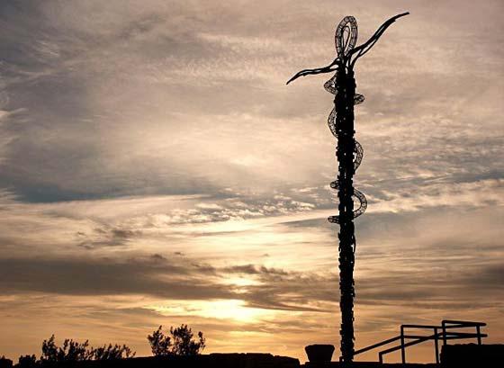 The Brazen Serpent Monument on summit of Mount Nebo Jordan
